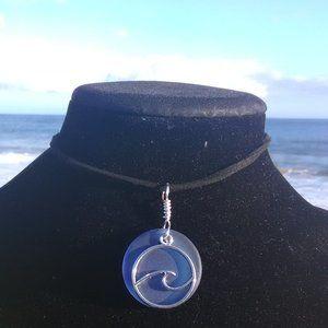 Dark Blue Sea Glass Ocean Wave Necklace